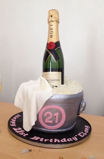 21st Birthday Cake Champagne Bucket With A Real Bottle Of Moet Chandon In The Middle Made By Chris Green Maker