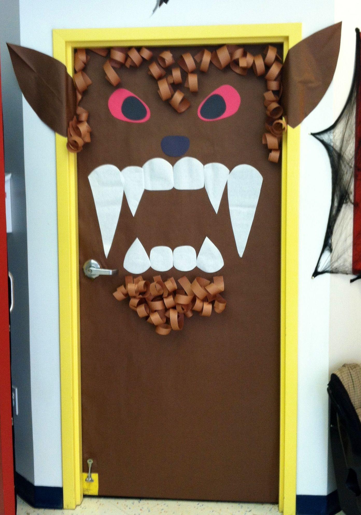 Ware Wolf Door At School Halloween Door Decorations Classroom Halloween Classroom Door Decor Halloween Classroom Decorations