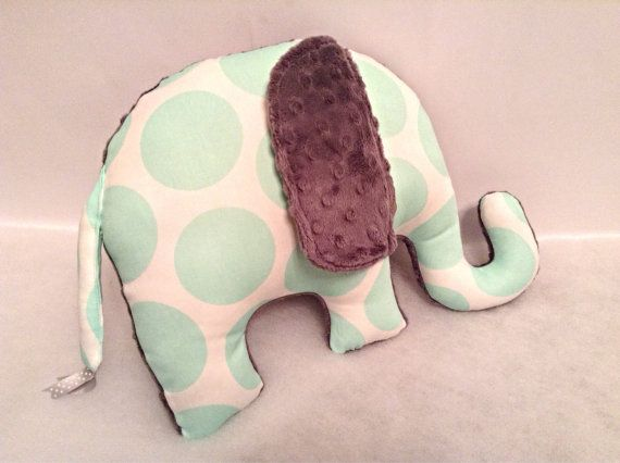 Elephant Pillow_Zoo Nursery_White Grey Mint by SewPookie on Etsy
