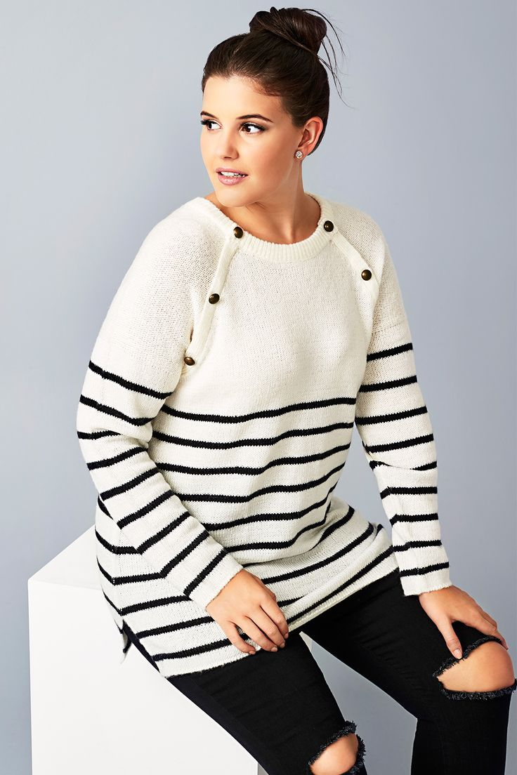 9891fbe305a Plus size Cream   Black Stripe Knit Jumper With Bronze Buttons ...