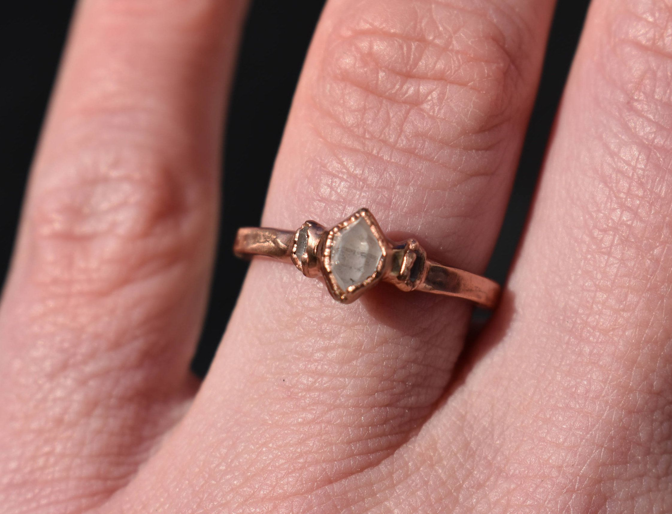 Herkimer Three Stone Electroformed Ring/Raw Herkimer Diamond Quartz ...