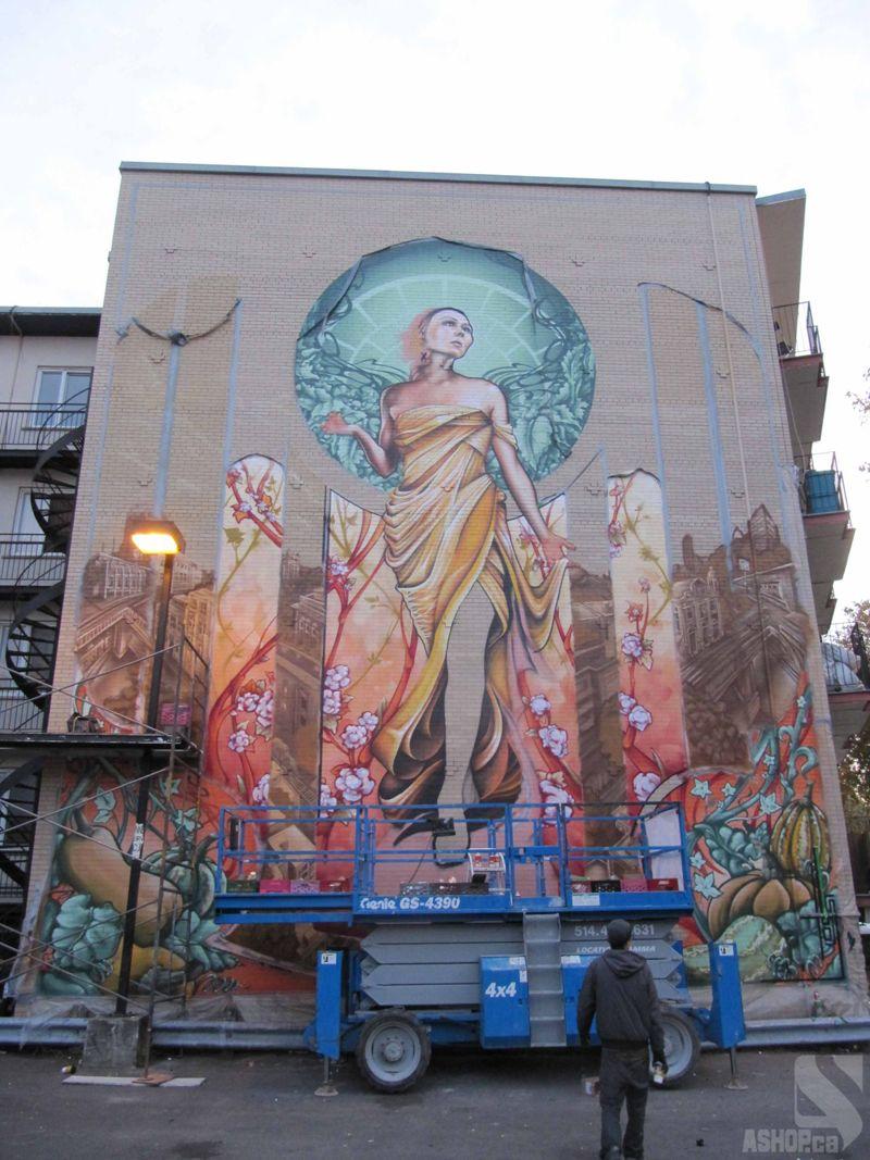 Notre Dame de Grce Graffiti Mural by AShop Street Art