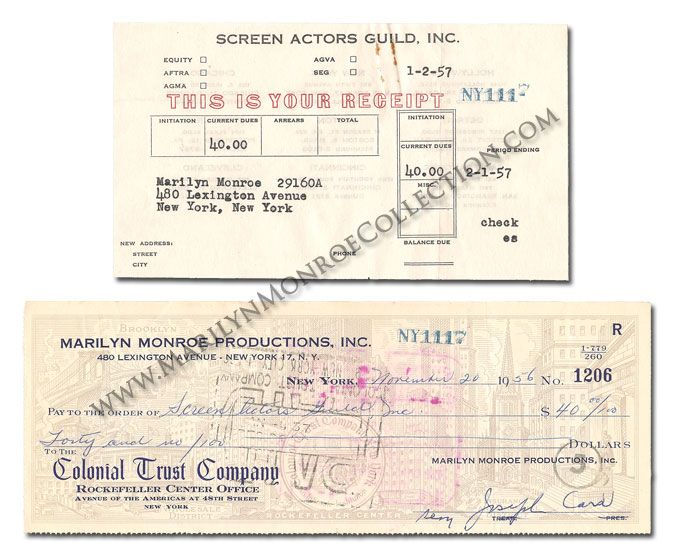 Marilyn MonroeS Personal Receipt For Her  Screen Actors
