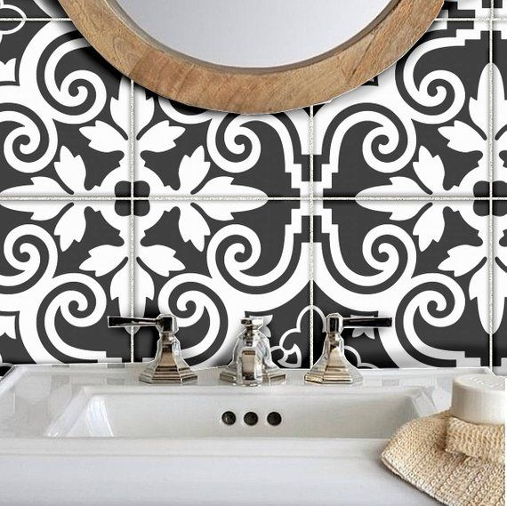 Tile Stickers Vinyl Decal WATERPROOF REMOVABLE for kitchen bath WAL floor or stair: B173b Black and White