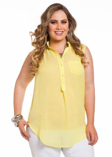 12cd75f9140 Ashley Stewart Womens Plus Size Sleeveless Button-up Blouse Yellow Apple