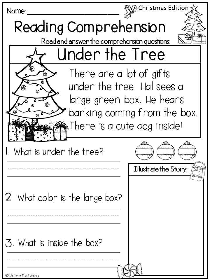 First grade reading worksheets christmas