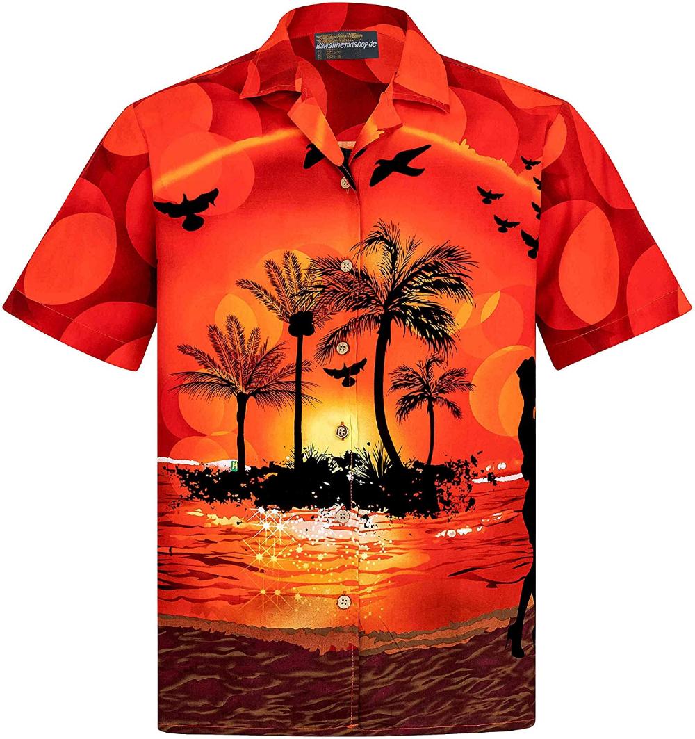 Men's Hawaiian Shirt   20 Cotton   S   20XL   Beach   Palms ...