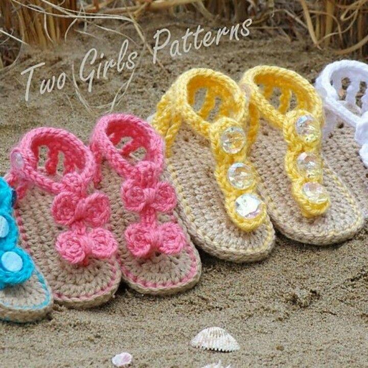 Baby Crochet Sandles omg so so cute!! | zapatitos de bebe ...