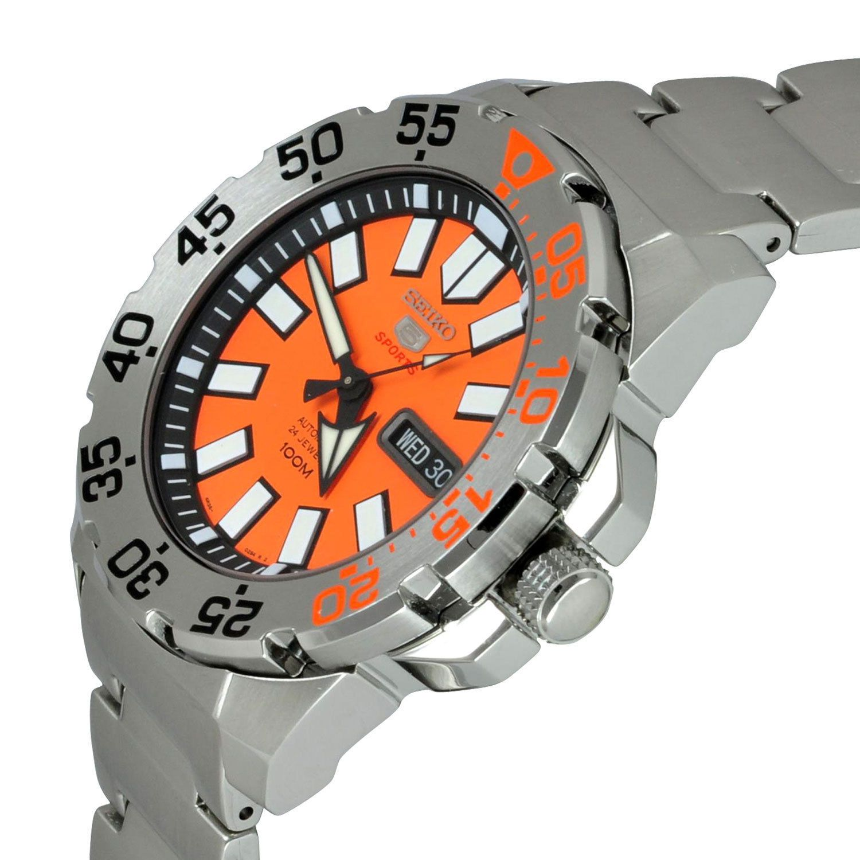 Seiko 5 Sports SRP483 Automatic 24 Jewels Orange Dial 100m