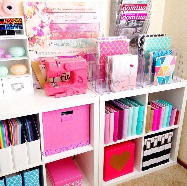 Study Room Decoration Diy: Cute & Colorful Office Storage. #craft_room #organization