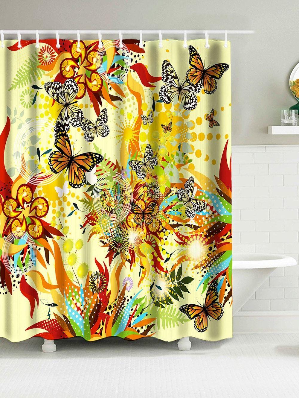 Springtime Butterflies Print Bathroom Water Resistant Shower Curtain Butterfly Shower Curtain Curtains Cheap