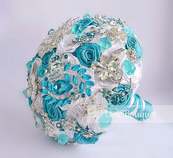 Turquoise Wedding Brooch bouquet Brides Bouquet por LoveBouquet