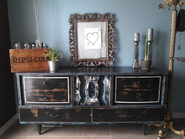 Re-tiqued By Rae Bond.: Blue-grass Inspired Rustic MCM Dresser