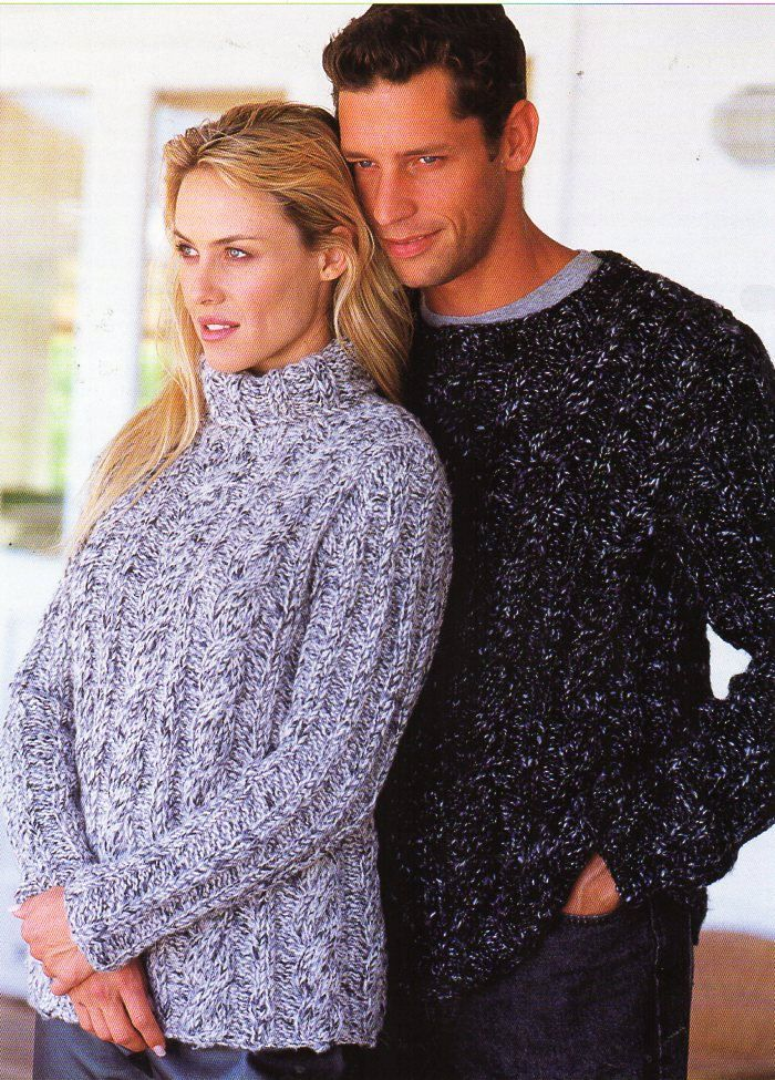 Vintage Womens Mens Super Chunky Sweaters Unisex Knitting Pattern