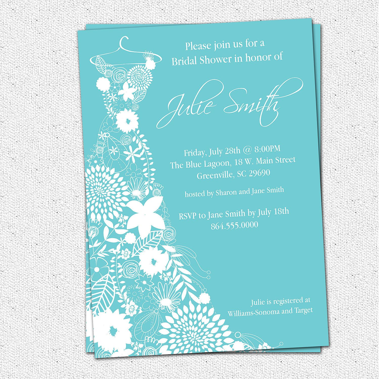 Tropical Elegant Wedding Shower Invitations | Printable Bridal Shower  Invitation Floral Dress, Elegant Whimsical . Nice Design