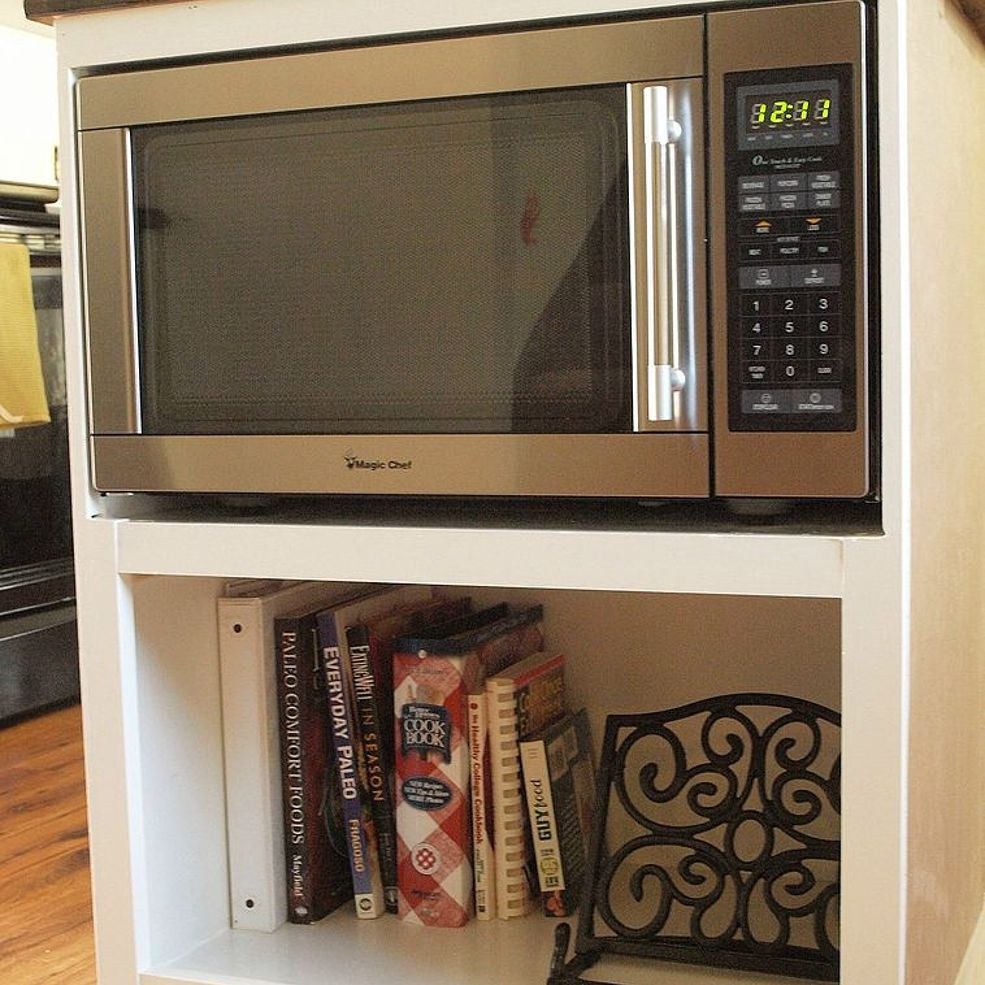 Kitchen Cabinet Ideas For Microwave: DIY Custom Under Counter Microwave Cabinet