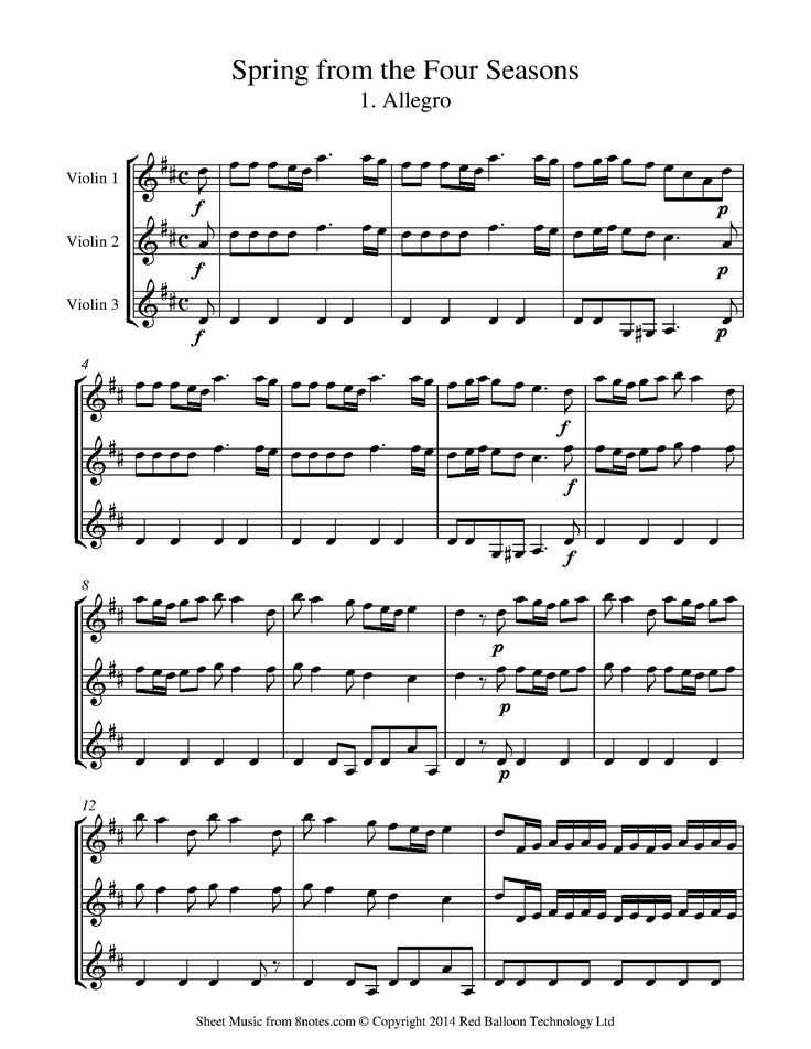 Vivaldi Spring From The Four Seasons 1 Allegro Sheet