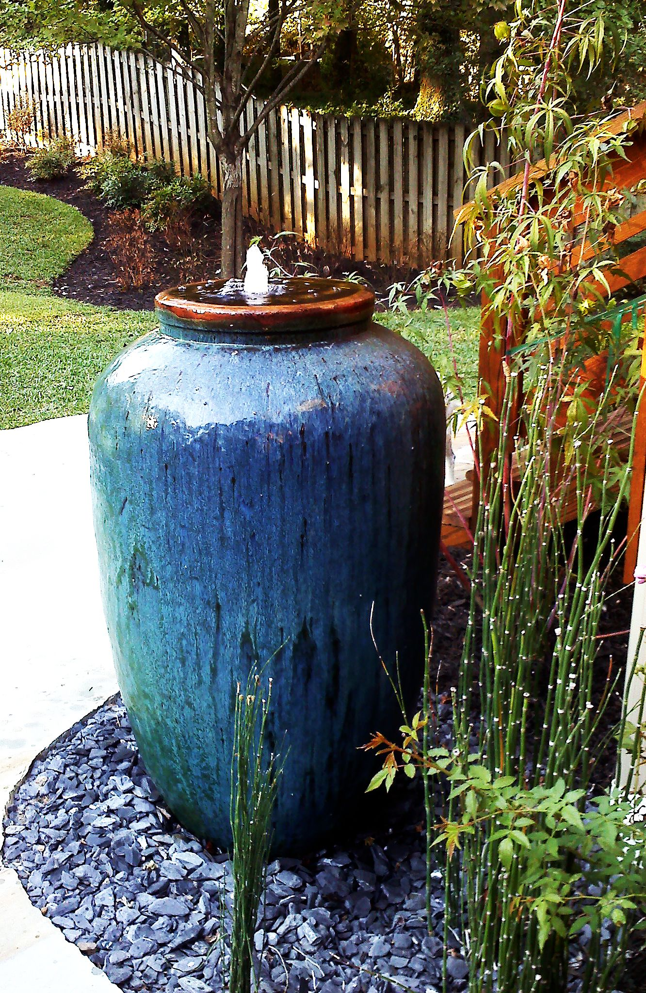 olive shape jar makes great fountain for your backyard the