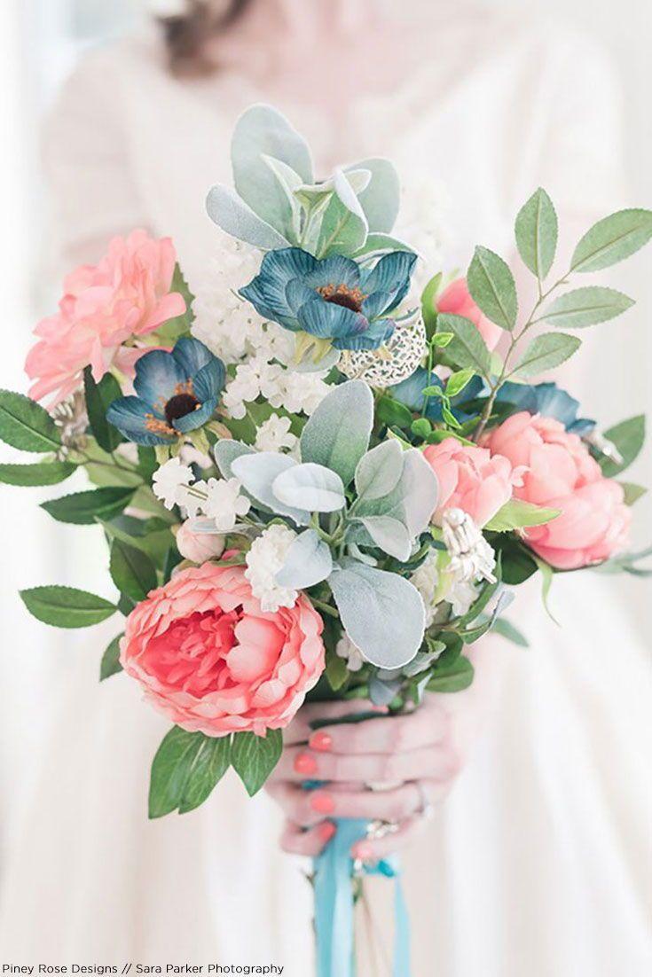 Get The Look Pink Spring Silk Flower Bridal Bouquet
