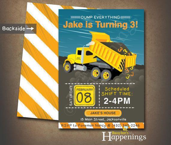 construction birthday invitation construction birthday dump truck