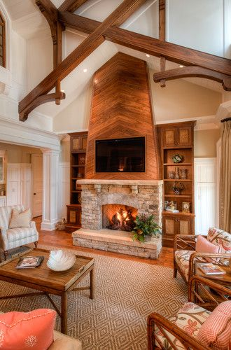 Interior Design Fireplace Living Room: Millwork - Ceiling & Fireplace Wall