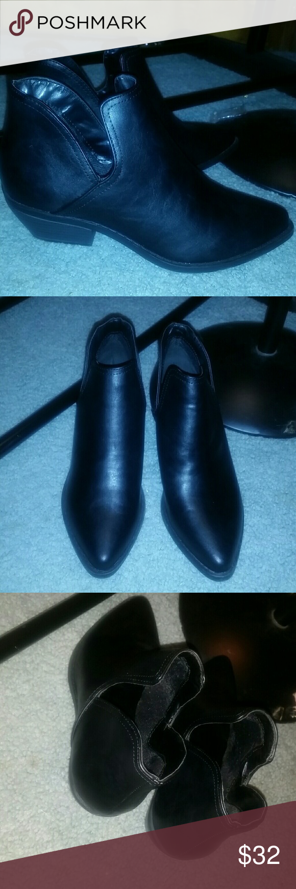 Black leather ankle booties 7.5 Soda brand. Super comfy and chic. So upscale on! Shoes Ankle Boots & Booties