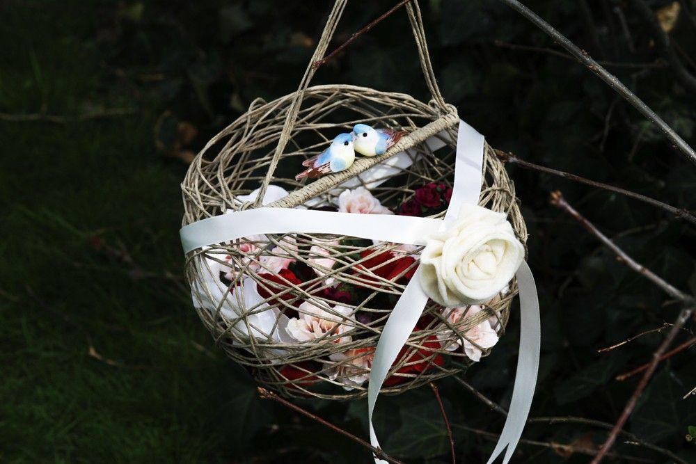 Bird nest flower girl basket with two lovebird by