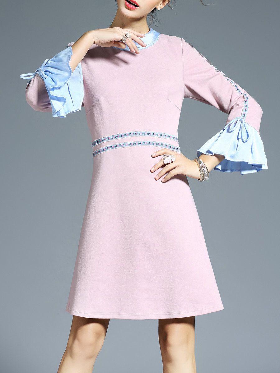 AdoreWe #StyleWe AOFULI Pink A-line Elegant Ruffled Mini Dress ...