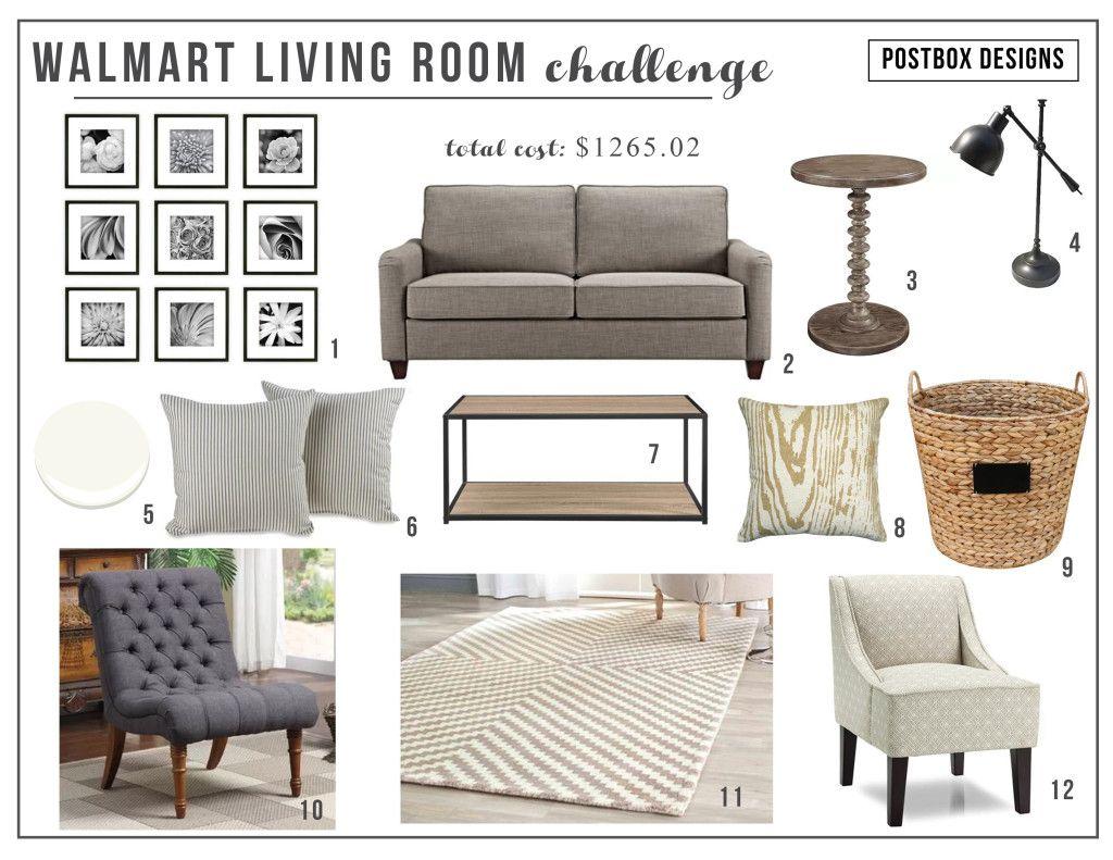 Walmart Living Room Budget Design Challenge Postbox Designs Living Room Design Board Walmart Living Room Guest Bedroom Makeover Walmart living room decor