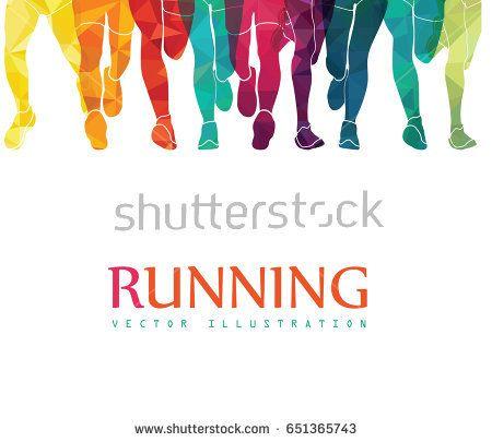 Running marathon, people run, colorful poster. Vector ...
