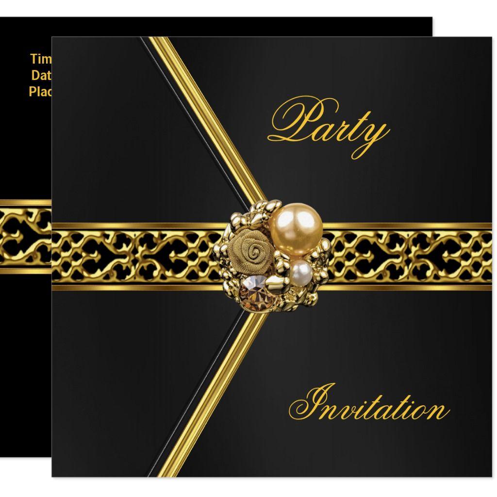 Party Invitation All Occasions Black Velvet Gold   Zazzle.com   Elegant birthday  party, Party invitations, Invitations