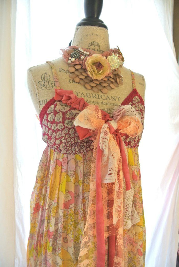 French Country Clothing Part - 26: Gypsy Cowgirl Slip Dress, Boho, French Country Sundress, Romantic, Tunic,  Womens
