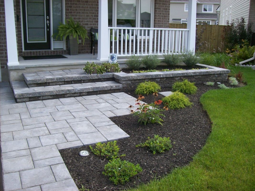 Steps & Interlock Driveways  Porch landscaping, Front yard