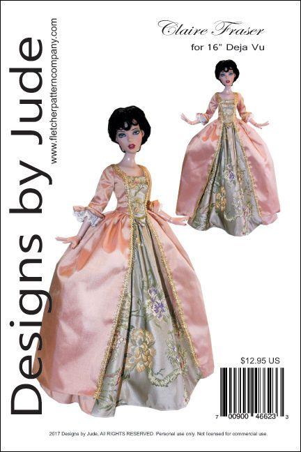 "Outlander Claire Fraser Sewing Pattern for 22/"" American Model Dolls Poldark"