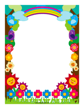 colorful page borders. Flowers and rainbows decorate this colorful border  Free to download print
