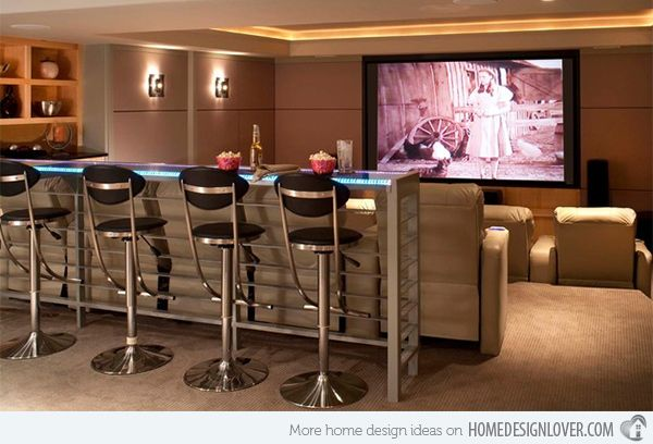 15 Interesting Media Rooms And Theaters With Bars Home Design Lover Home Theater Seating Home Theater Lighting Bars For Home