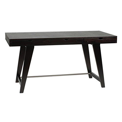 Eurø Style Carson Wood Desk With Three Drawers, Wenge