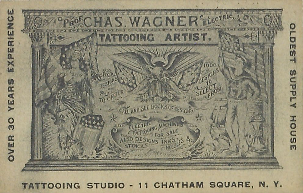 Early Chas. Wagner tattoo business card. circa 1940\'s ...