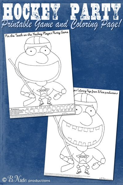Pin the Teeth on the Hockey Player -- and coloring page from BNute - new coloring page of a hockey player