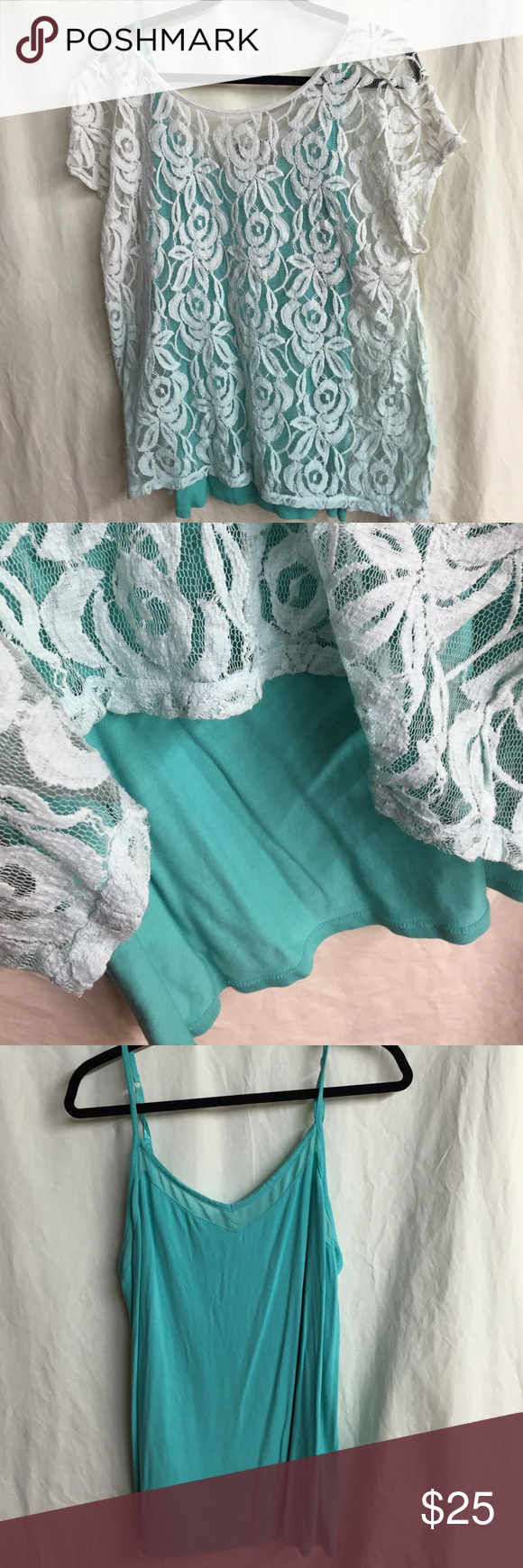 Lane Bryant lace top with matching cami Mostly white with subtle ombré turquoise color towards bottom. Comes with a matching cami. Excellent condition with no stains or snags. From a smoke free home. Both items are size 18/20 Lane Bryant Tops Blouses