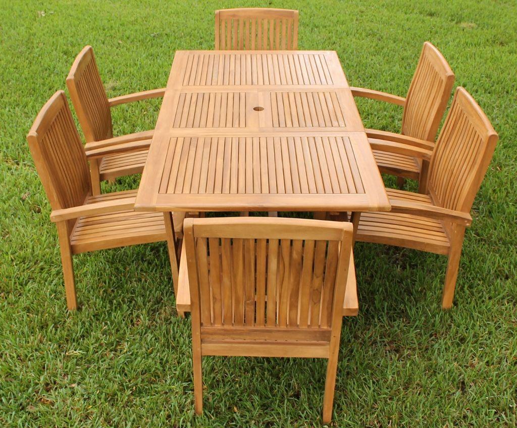 Attractive Ocean Rectangular Table U0026 6 Pacific Armchairs Teak Set | Oceanic Teak