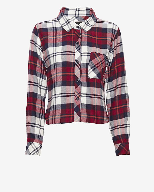 e2204eb25 Rails EXCLUSIVE Cropped Plaid Shirt: Wine: This button-down is quite  possibly the
