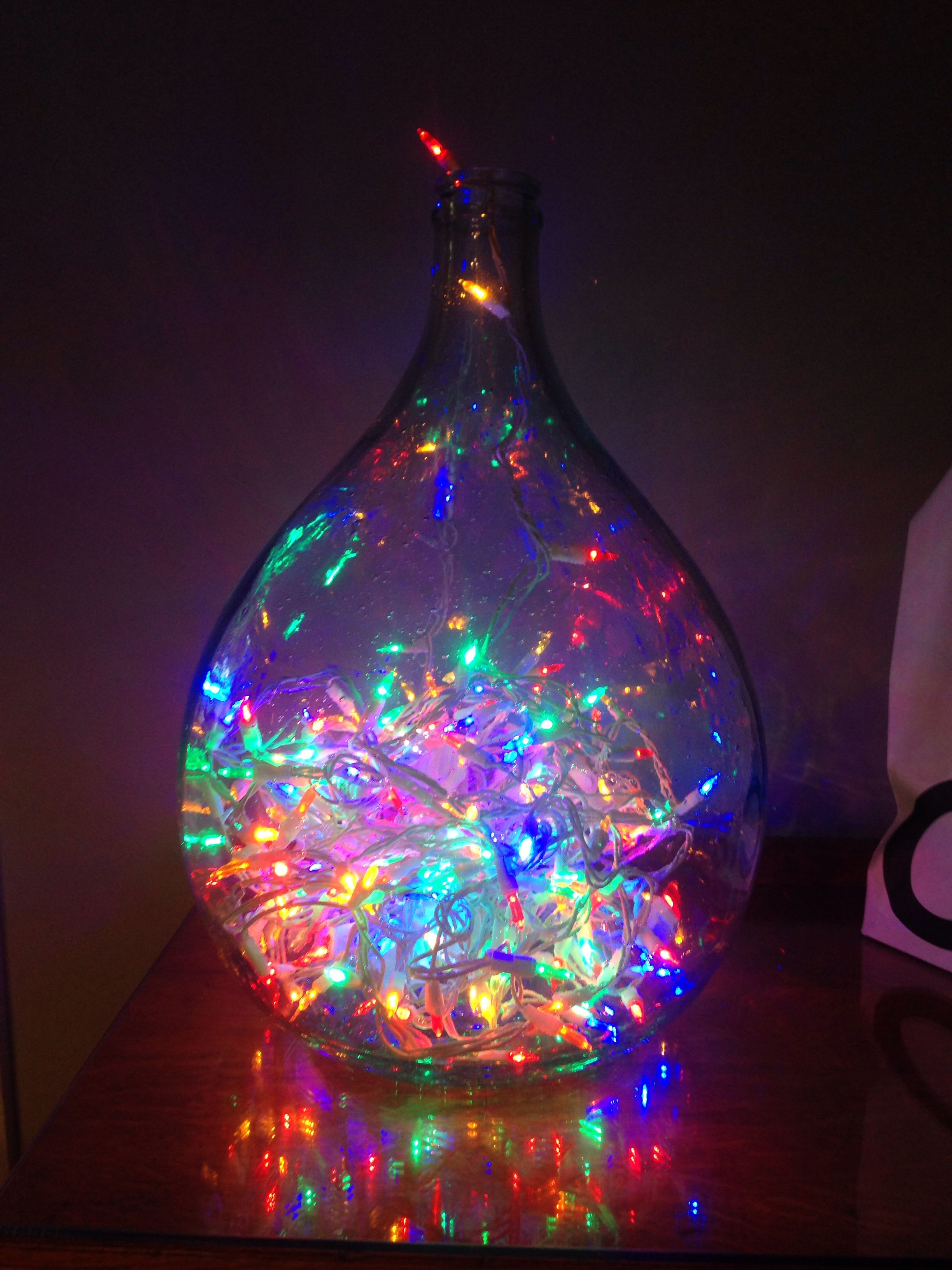 Christmas lights inside a glass bottle! Perfect for unused ...