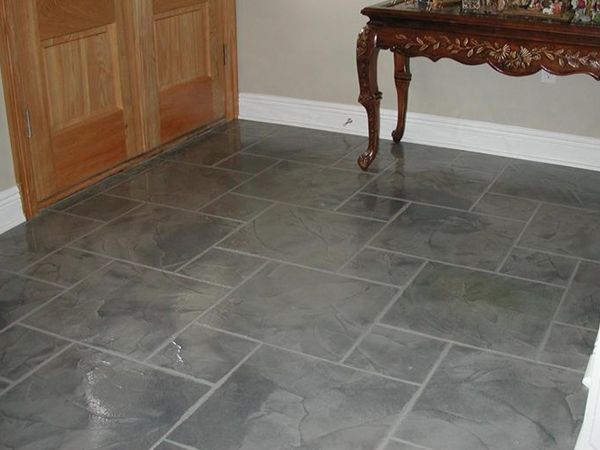 Decorative Patio Tiles Amazing Concrete Stamp  Slate Tile Look  Concrete Flooring  Pinterest Inspiration