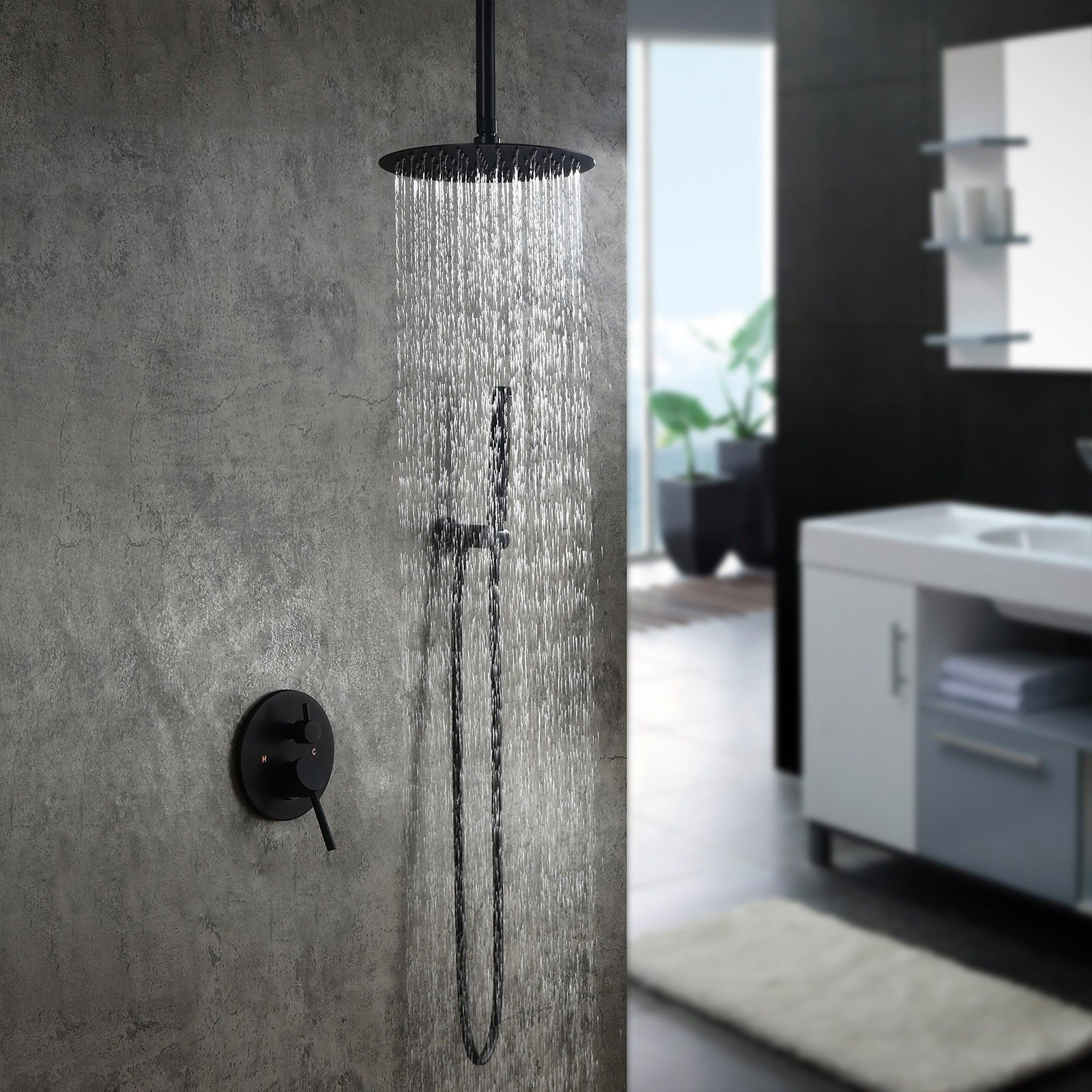 Contemporary Ceiling Mounted Round Rain Shower Head Shower Combo