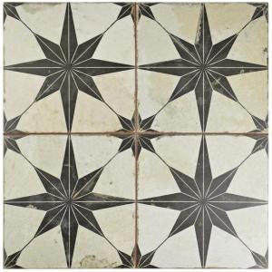Merola Tile Kings Star Nero Encaustic 17-5/8 in. x 17-5/8 in. Ceramic Floor and Wall Tile (11.02 sq. ft. / case)-FPESTRN