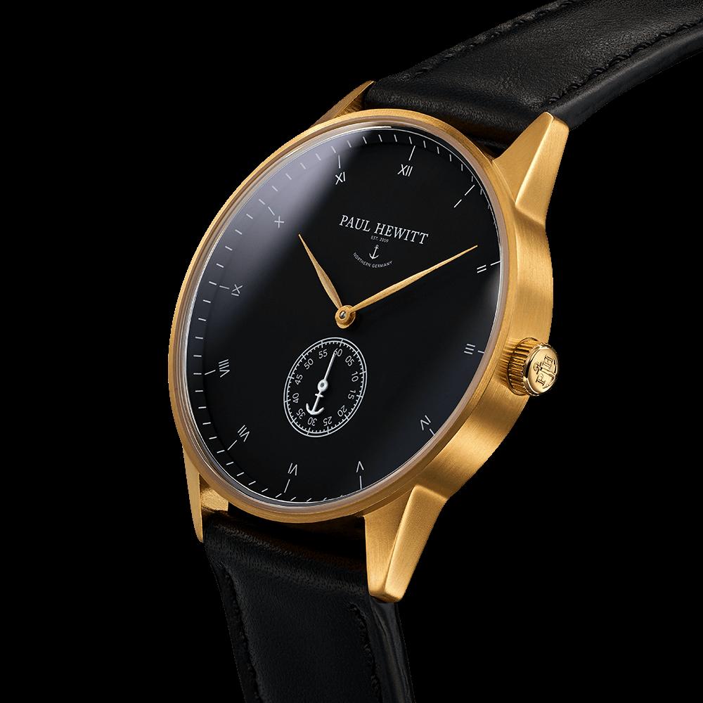 Paul Hewitt Signature Line Watch Nautical Gold Mark I Black Sea Leather Classic Black Montre