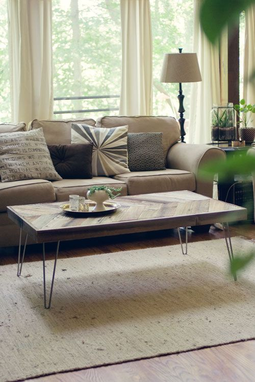 diy: herringbone barn wood coffee table | hairpin leg coffee table