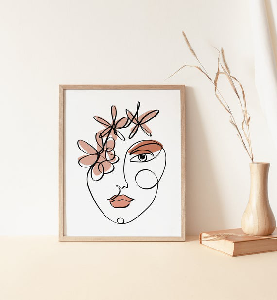Woman Face One Line Drawing Printable Neutral Wall Art,Abstract Line Art Boho Print Modern Minimalist Tumblr Room Decor