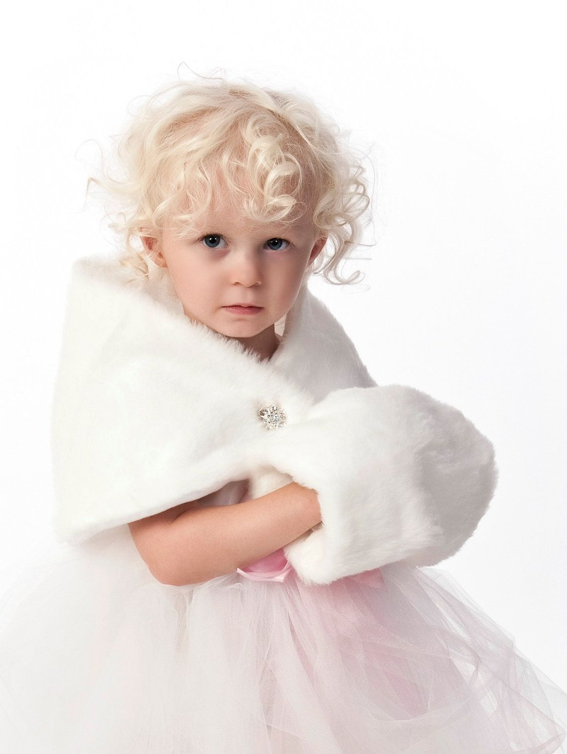 Girls faux fur shawl and hand cuff vintage inspired winterholiday